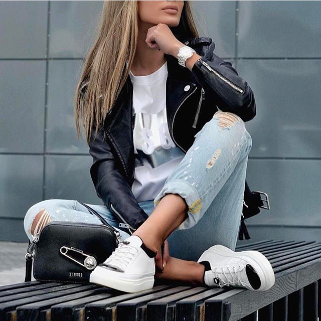 Black Leather Jacket With Cuffed Jeans And White Kicks: Simple Casual Look 2021