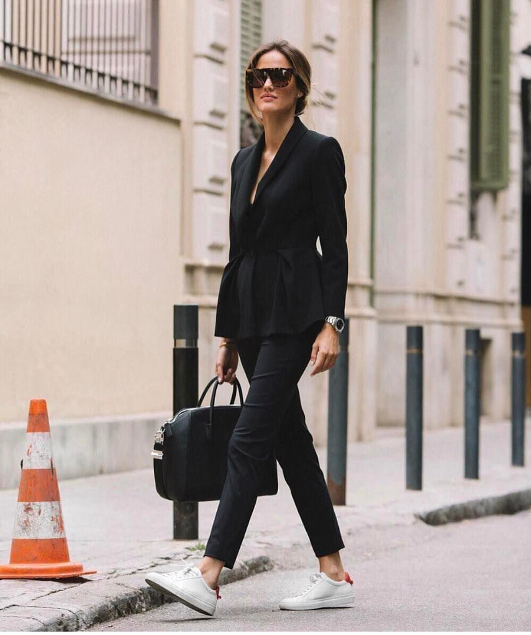 Black Pantsuit And White Sneakers Combination 2019