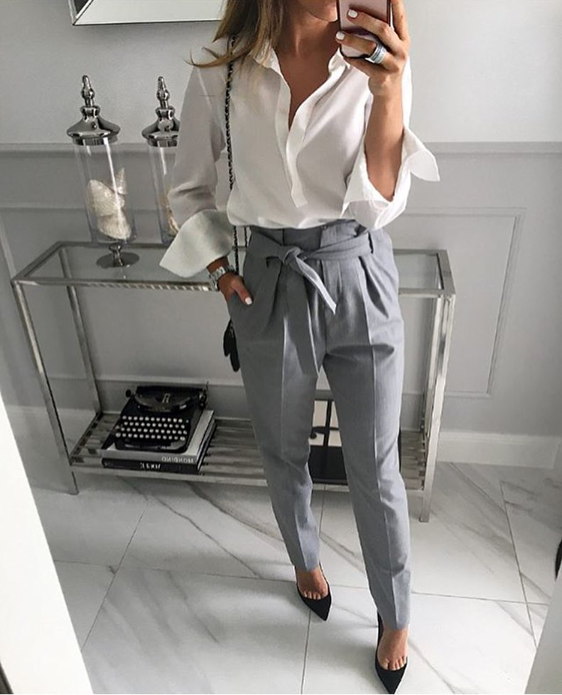 Can I Wear White Shirt And Gathered High-Rise Pants In Grey This Spring 2019