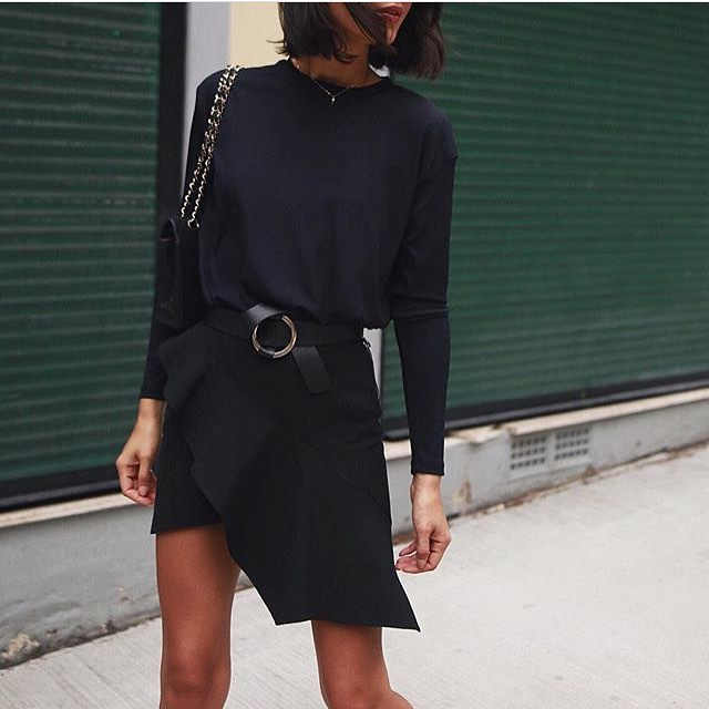 All Black OOTD: Long Sleeve Top And Belted Asymmetric Skirt 2020