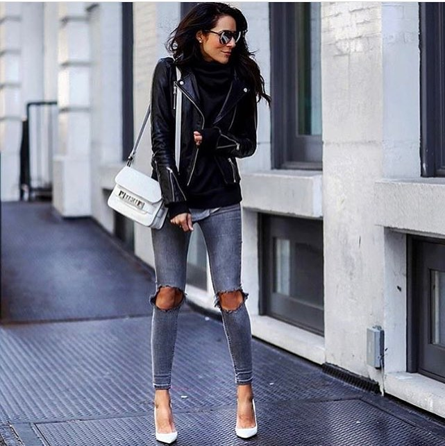 Black Leather Jacket With Knee-Ripped Grey Skinny Jeans For Fall 2019