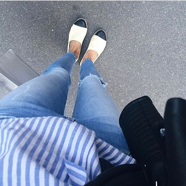 Blue-White Striped Shirt And White-Black Espadrilles For Casual Walk 2019
