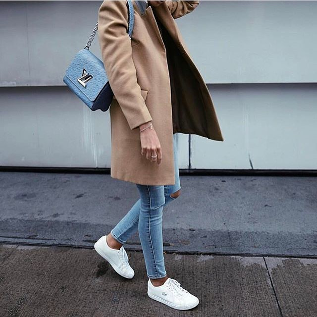 Camel Coat In Structured Fit Teamed With Skinny Jeans And White Sneakers 2020