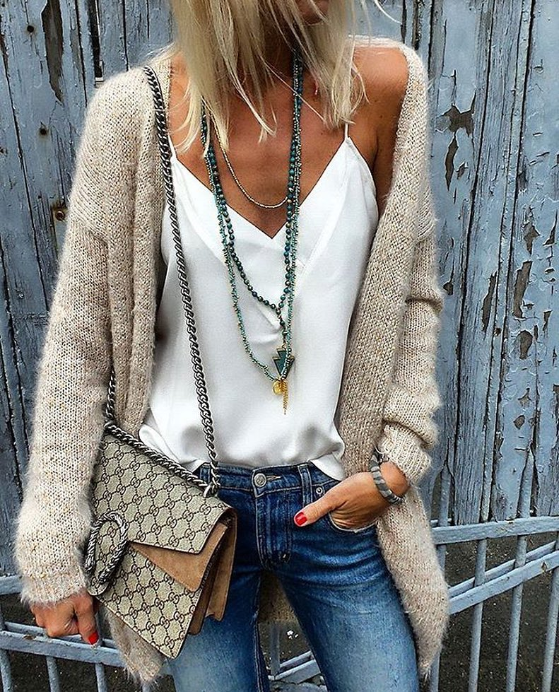 How To Wear Beige Wool Cardigan With White Slip Tank Top And Jeans 2020