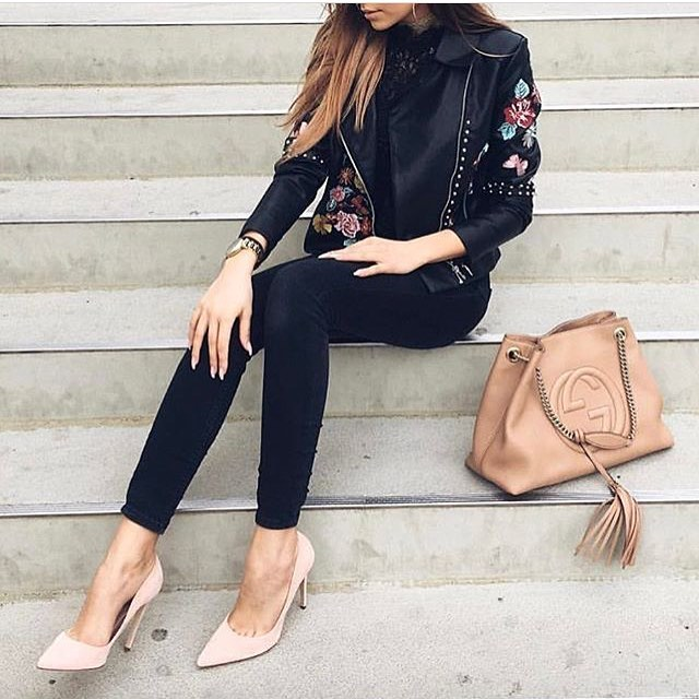 Floral Embroidered Black Leather Jacket And Nude Heels 2019