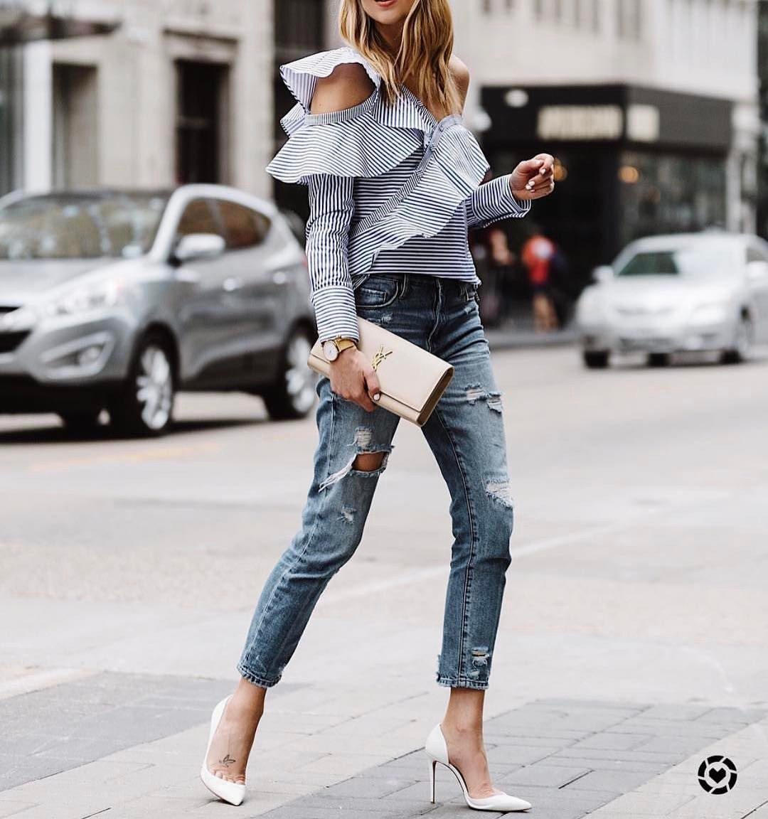 Ruffled Cold Shoulder Blouse And Ripped Slim Jeans For Summer 2019
