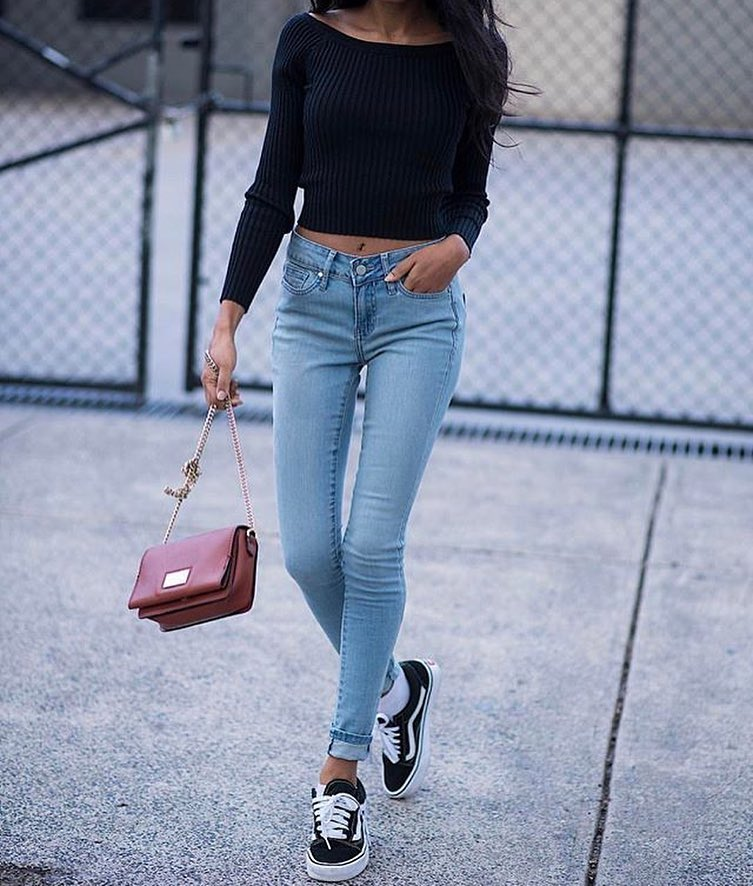 Boatneck Black Crop Sweater And Cuffed Skinny Jeans With Black Trainers 2021