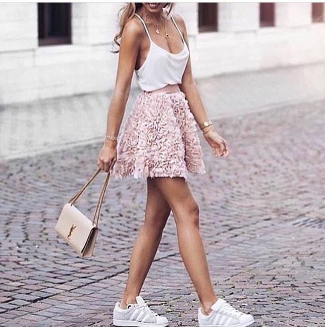 White Sliptank With Blush Mini Skirt And White Kicks 2019