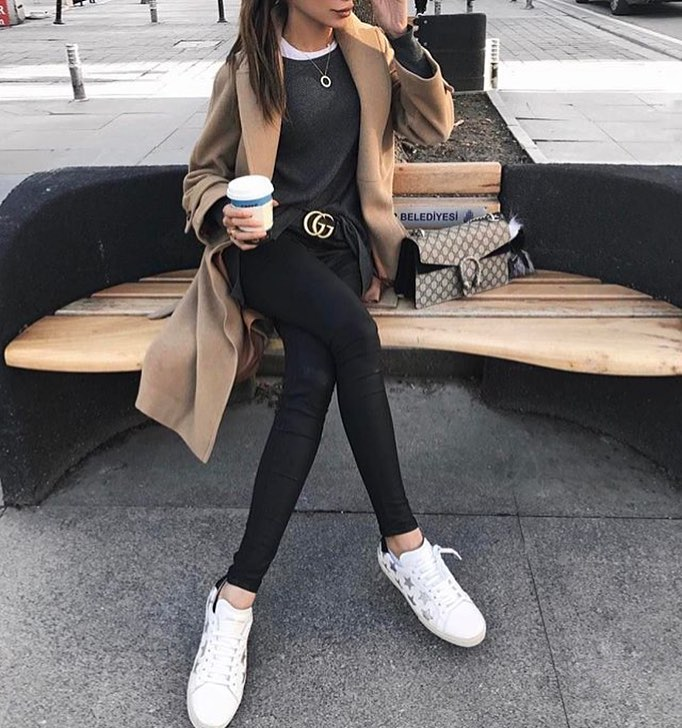 Camel Coat With All Black Look And White Sneakers 2019