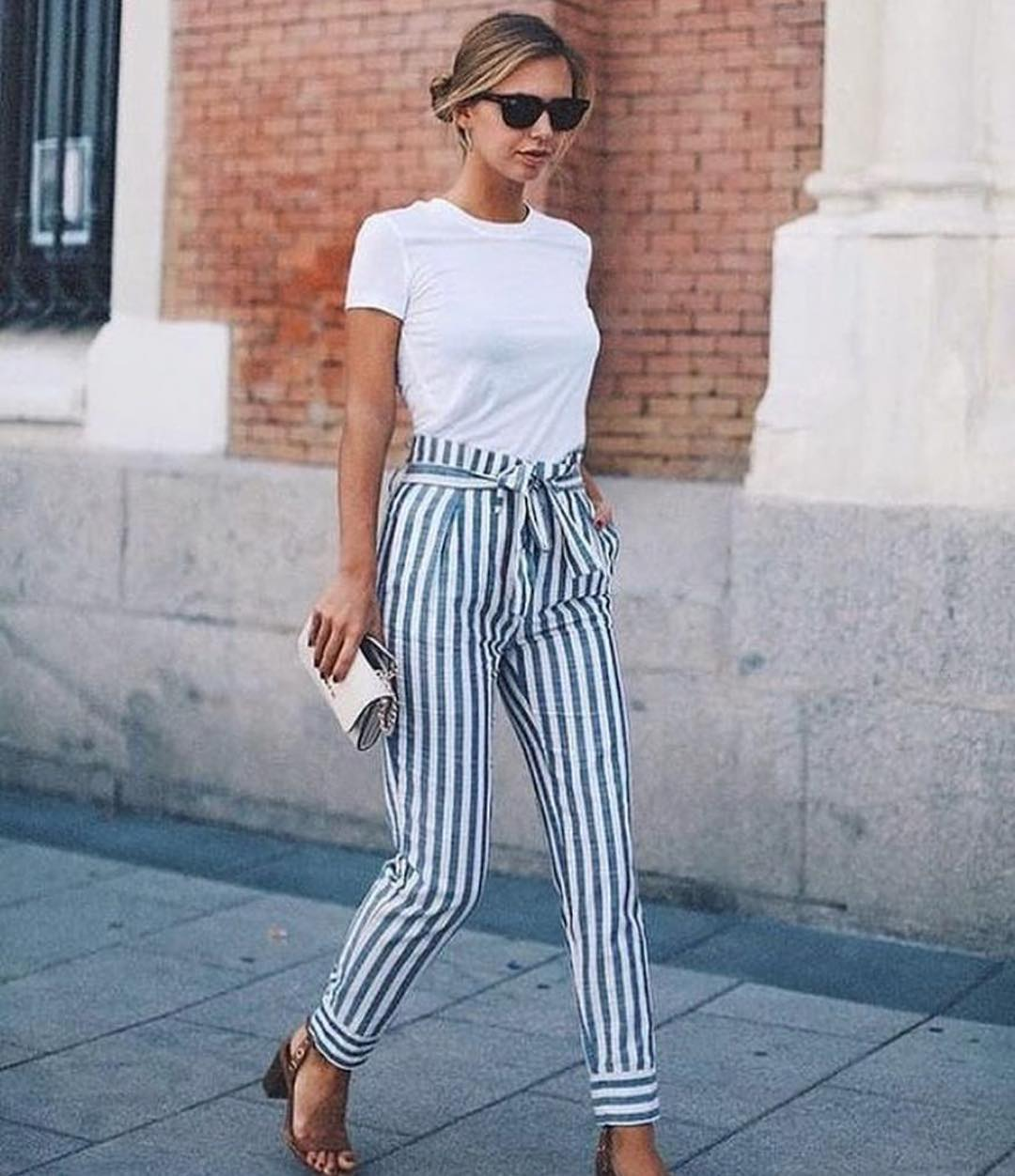 White Tee And Gathered High Rise Pinstripe Pants With Block Heel Sandals 2019
