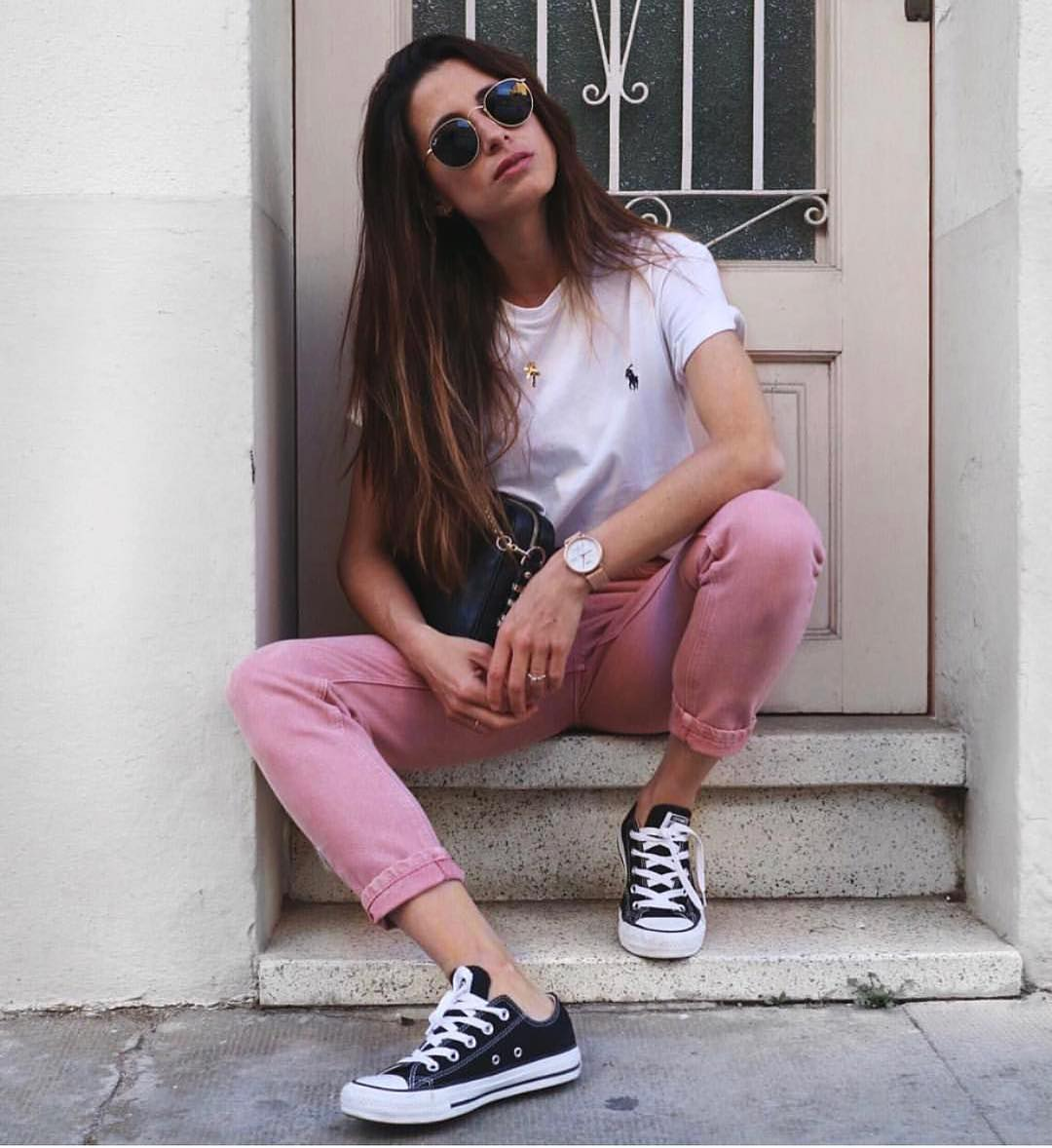 White Tee And Blush Pants For Summer 2019