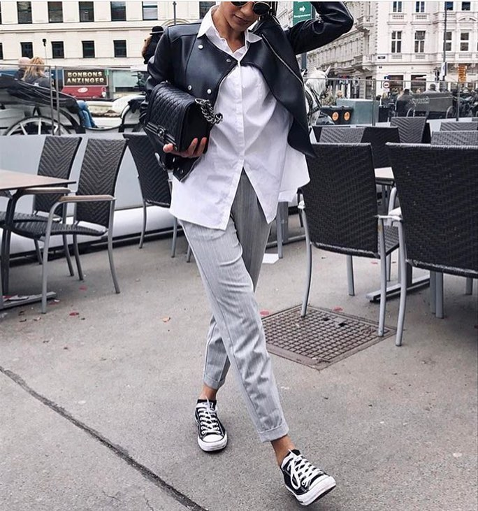 How To Wear Black Leather Jacket With Grey Pants This Summer 2019