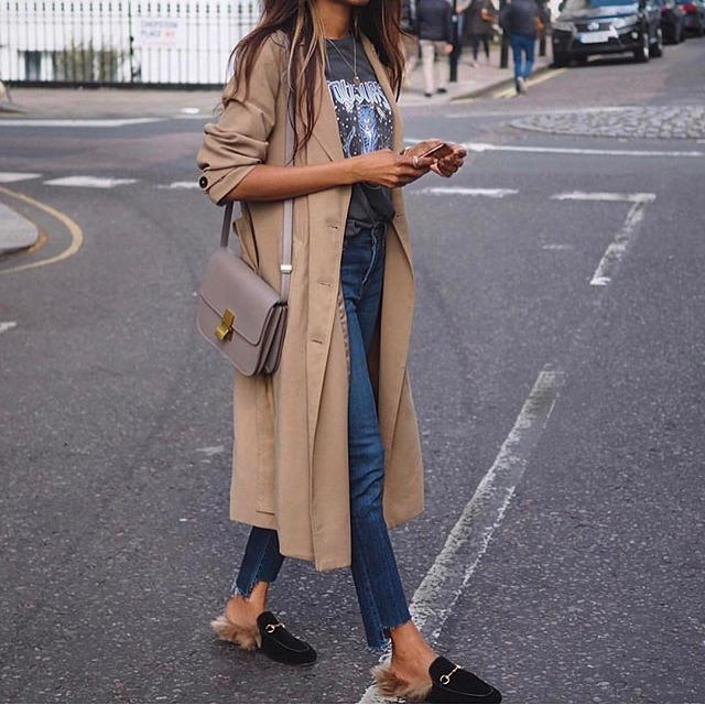 Long Beige Coat With Rock Band Tee, Slim Jeans And Fur Mules 2020