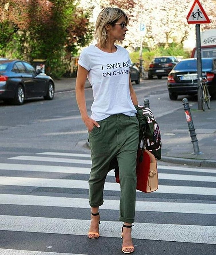 Khaki Olive Cargo Pants And White Shirt Combo 2019