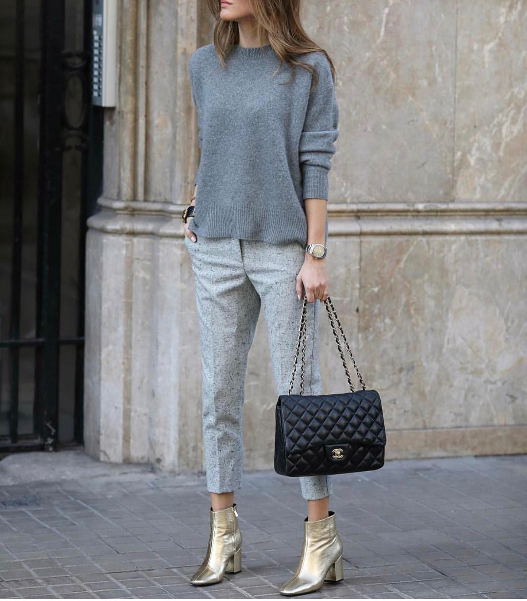 Can I Wear Metallic Gold Ankle Boots With Grey Monochrome Basics 2019
