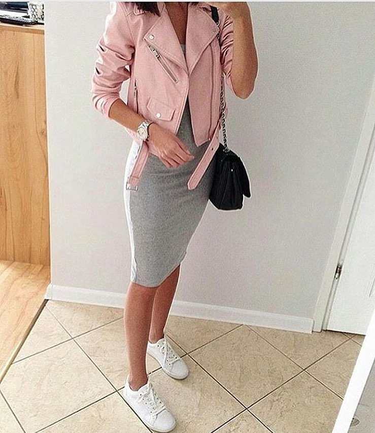 Can I Wear Pink Biker Jacket With Grey Jersey Dress 2021