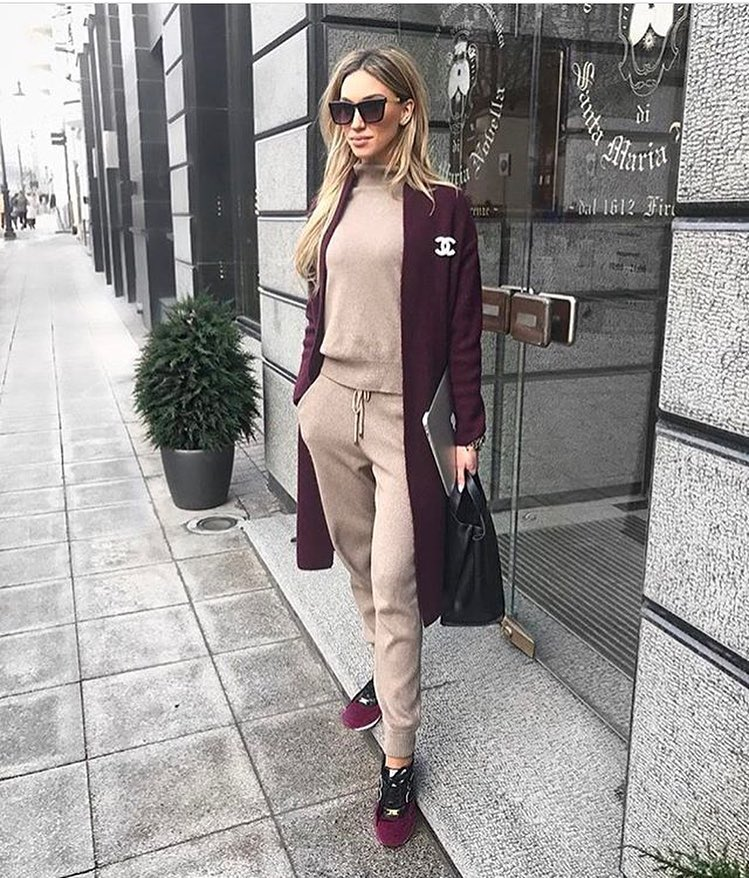 Maroon Cardi-Coat With Pastel Blush Track Suit And Maroon Sneakers 2020