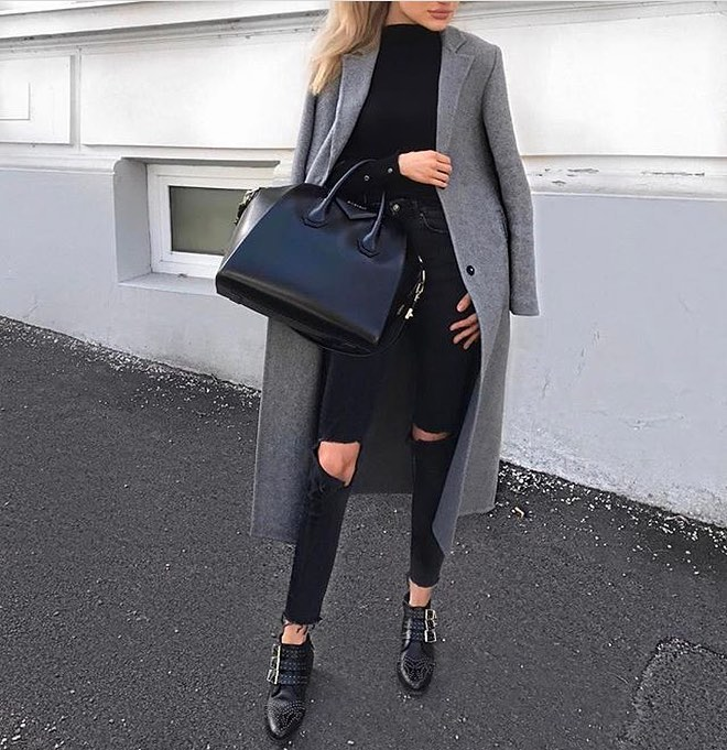 All Black Outfit And Grey Tailored Coat For Fall 2019