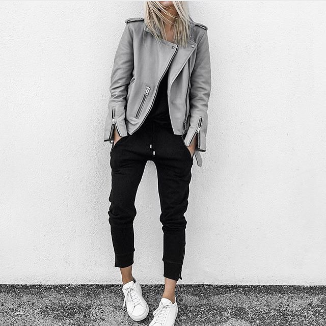 Can I Wear Grey Leather Biker Jacket With Black Joggers 2020