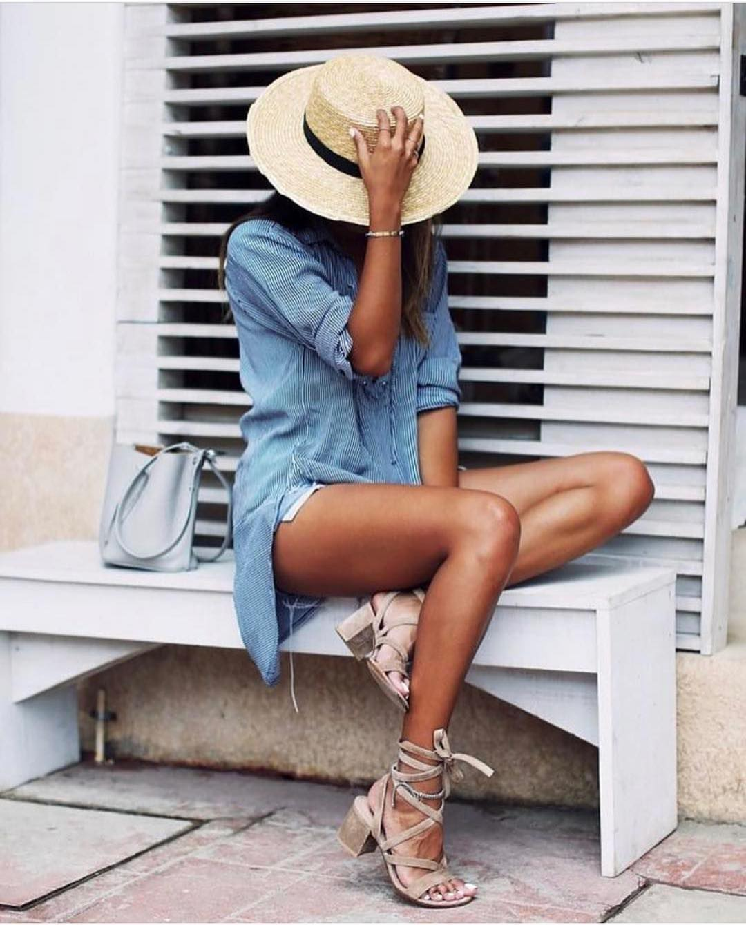 Straw Hat And Chambray Shirtdress For Summer 2021