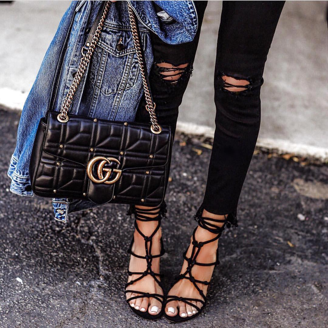 Strappy Heeled Sandals And Ripped Skinny Jeans In Black 2019