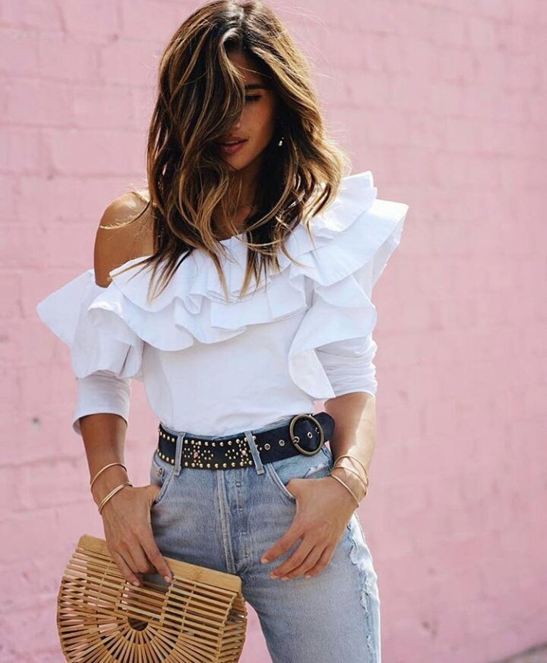 Ruffled One Shoulder Top With High Rise  Jeans For Summer 2021