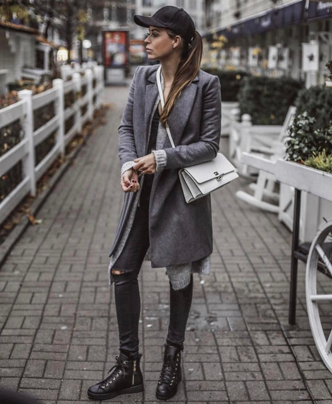 Charcoal Baseball Cap, Grey Coat And Grey Skinny Jeans: Monochrome OOTD 2020