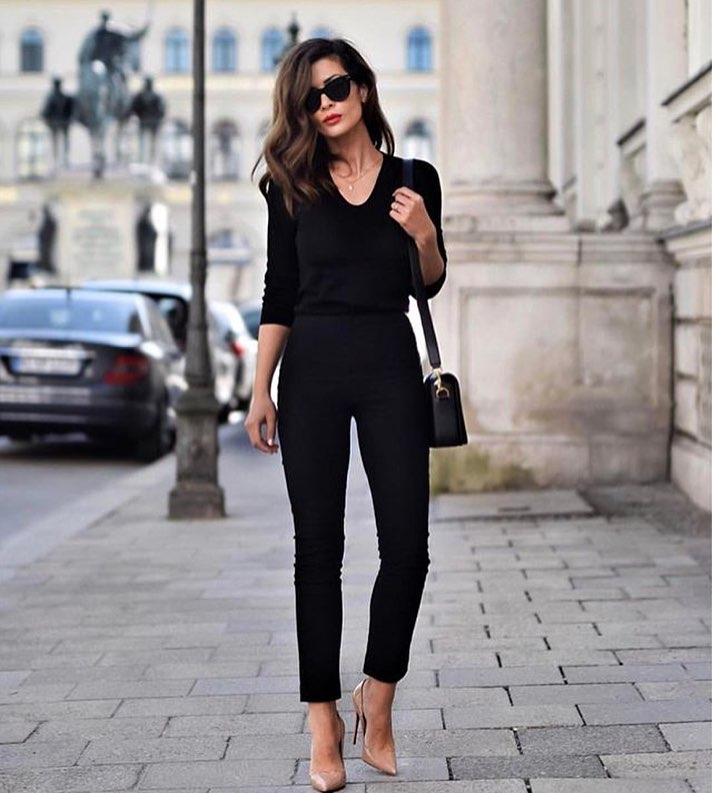 All Black Separates And Nude Heeled Pumps For Spring 2019