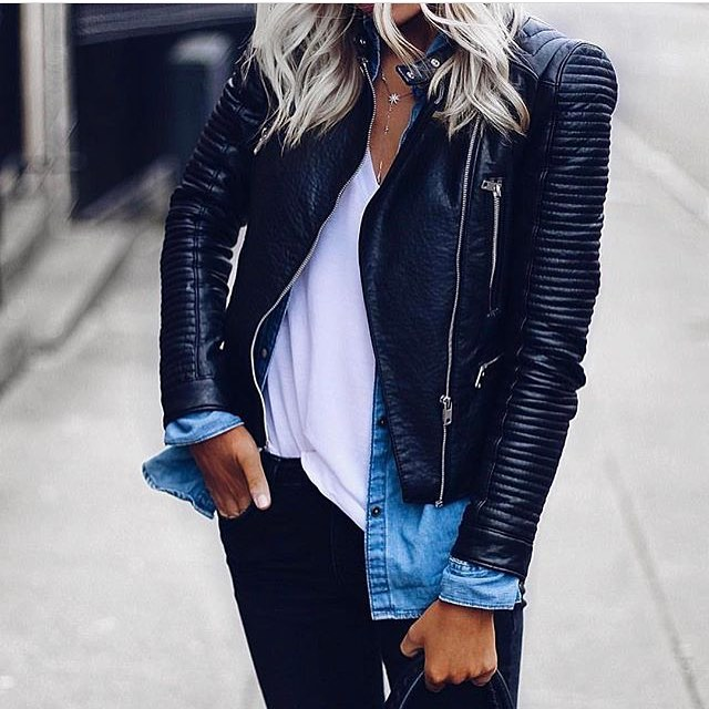 Black Leather Jacket With Denim Shirt And White Tee: Layered Outfit Idea 2020