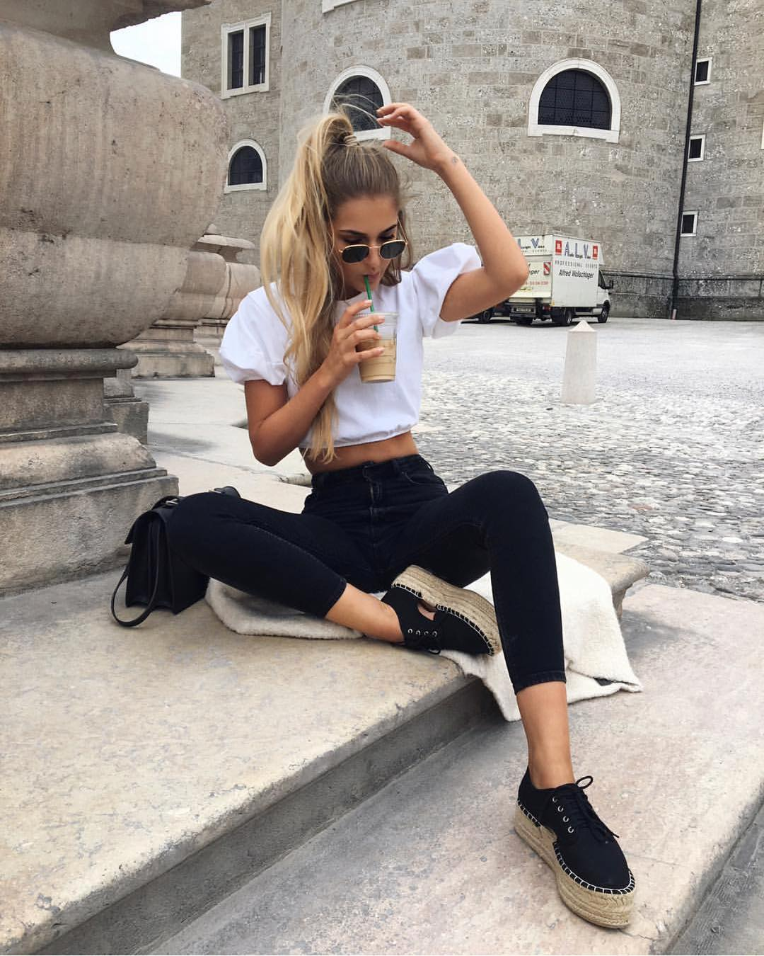 White Crop Blouse And High Rise Black Skinny Jeans For Summer 2019