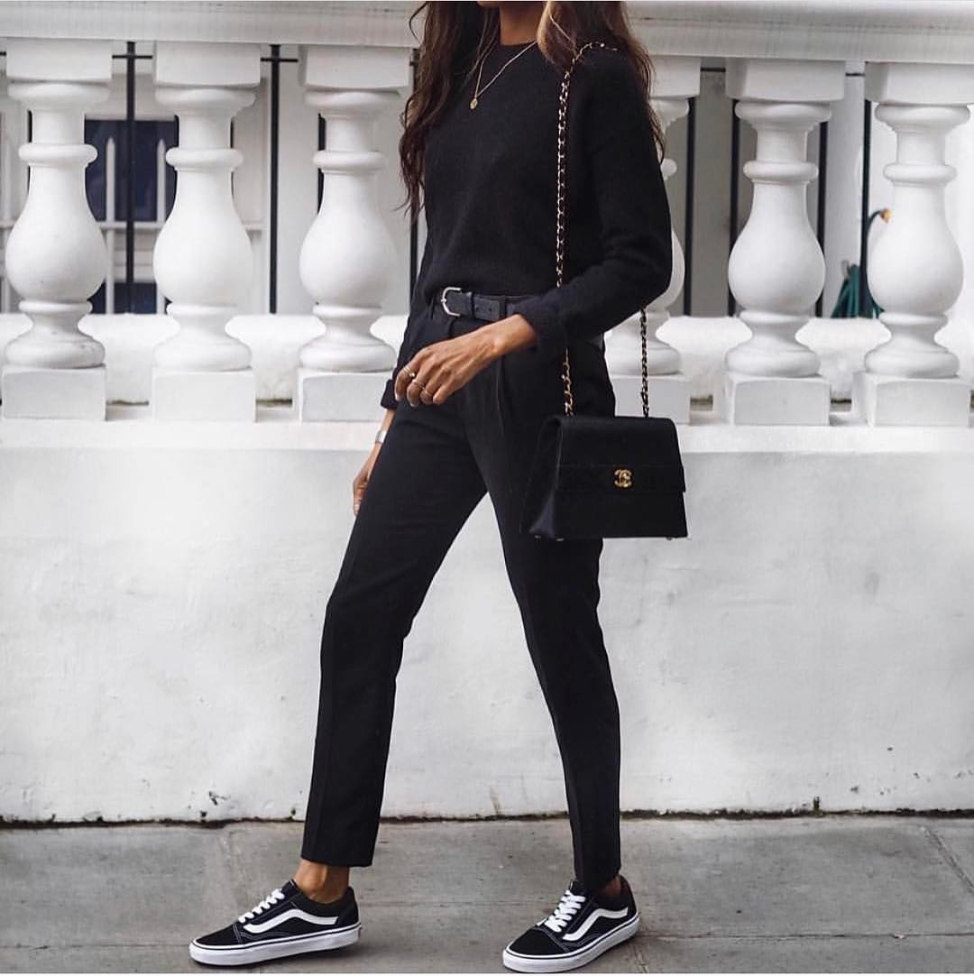 All Black Outfit Idea With Sneakers For Fall 2019