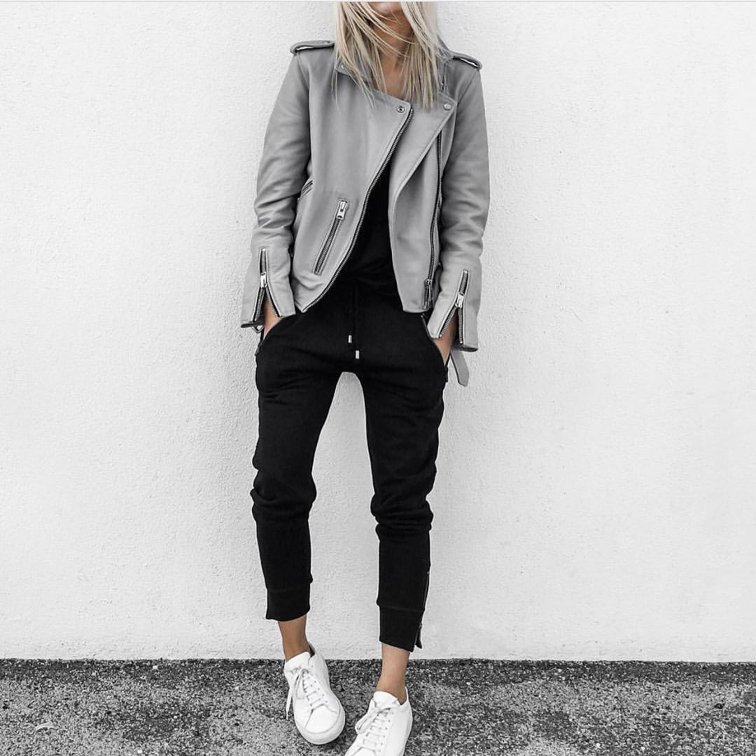 How To Wear Grey Leather Jacket And Black Joggers 2019