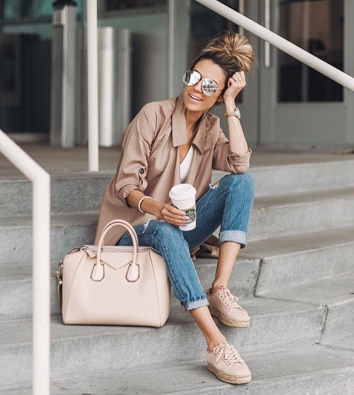 Beige Coat And Cuffed Wash Blue Jeans Combo For Spring 2019