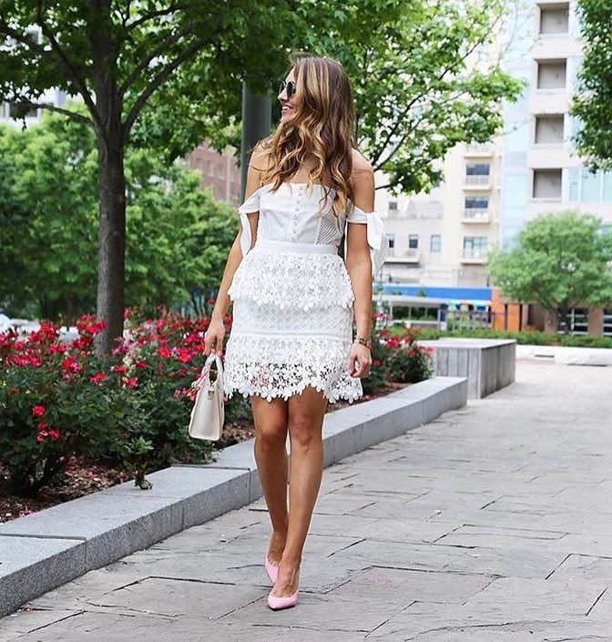Off Shoulder LWD With Lace Skirt For Summer 2019