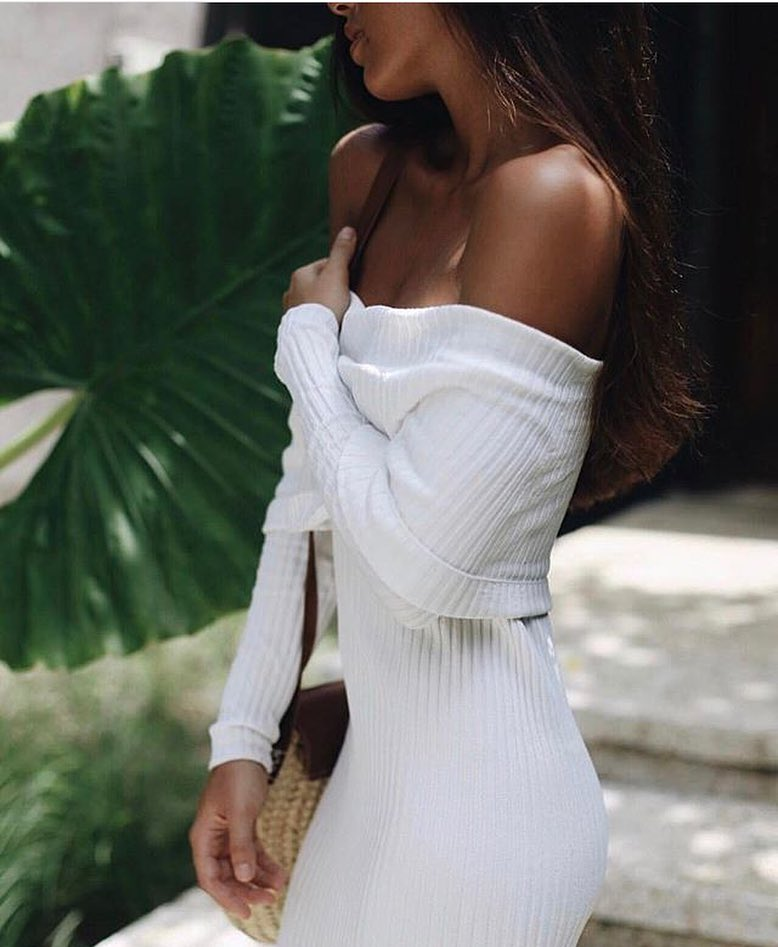 Off Shoulder White Knitted Dress In Slim Fit For Young Ladies 2019