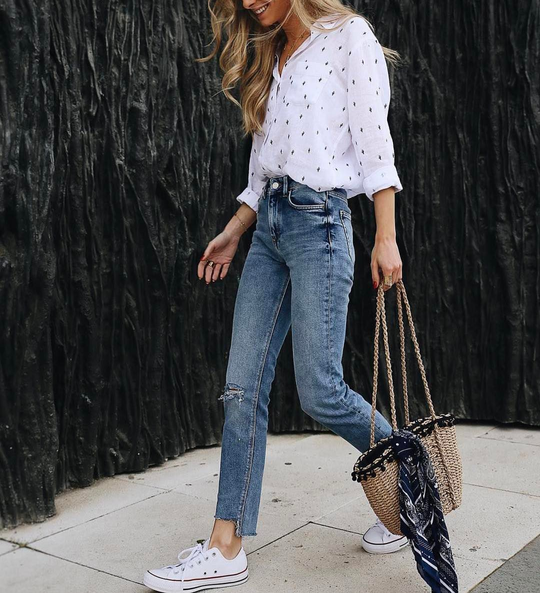 White Shirt With Wash Blue Jeans And White Trainers: Summer Essentials 2020