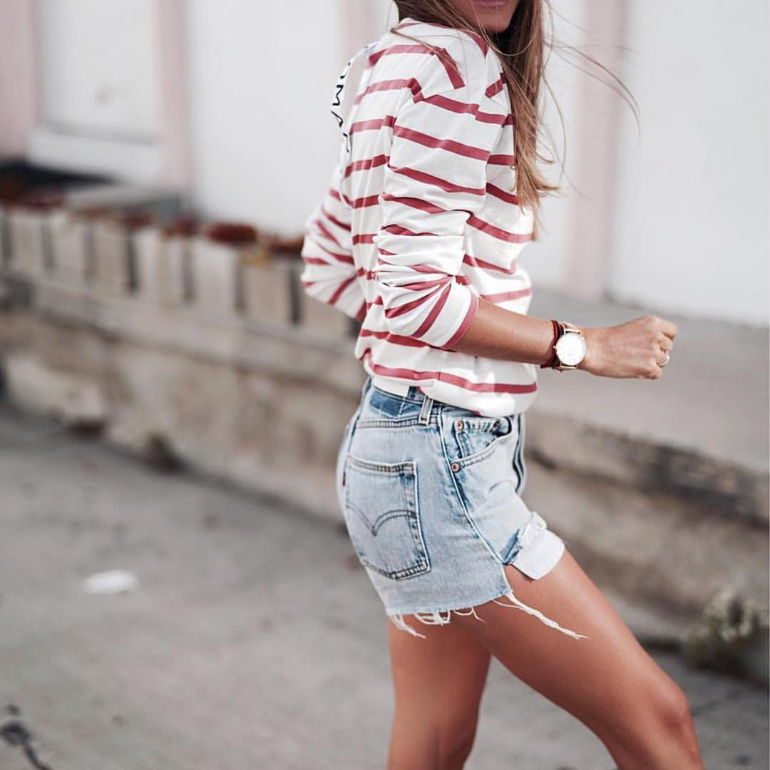 Summer Basics: Red Striped White Top And Wash Blue Denim Shorts 2021