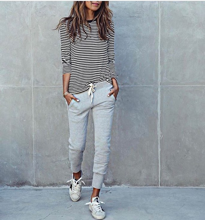 Striped Top With Grey Joggers And White Kicks: Sporty Casual Outfit Idea 2020