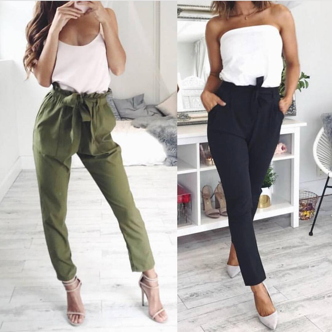 Khaki Green Or Black Waist Gathered Pants Are In Style This Spring 2020