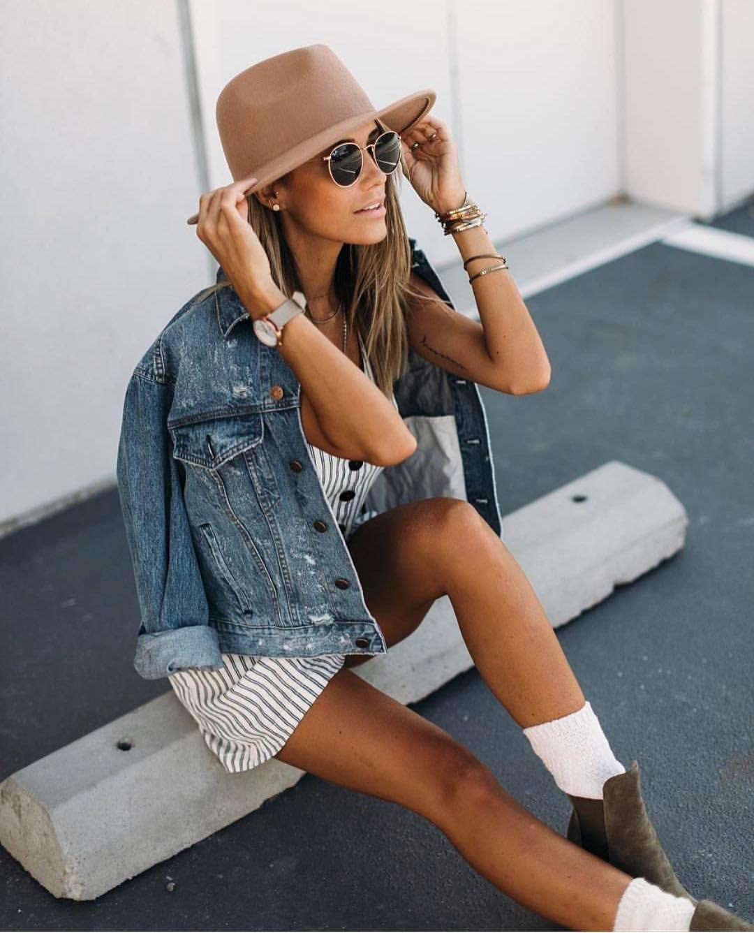 Pinstriped Dress And Denim Jacket For Summer 2021