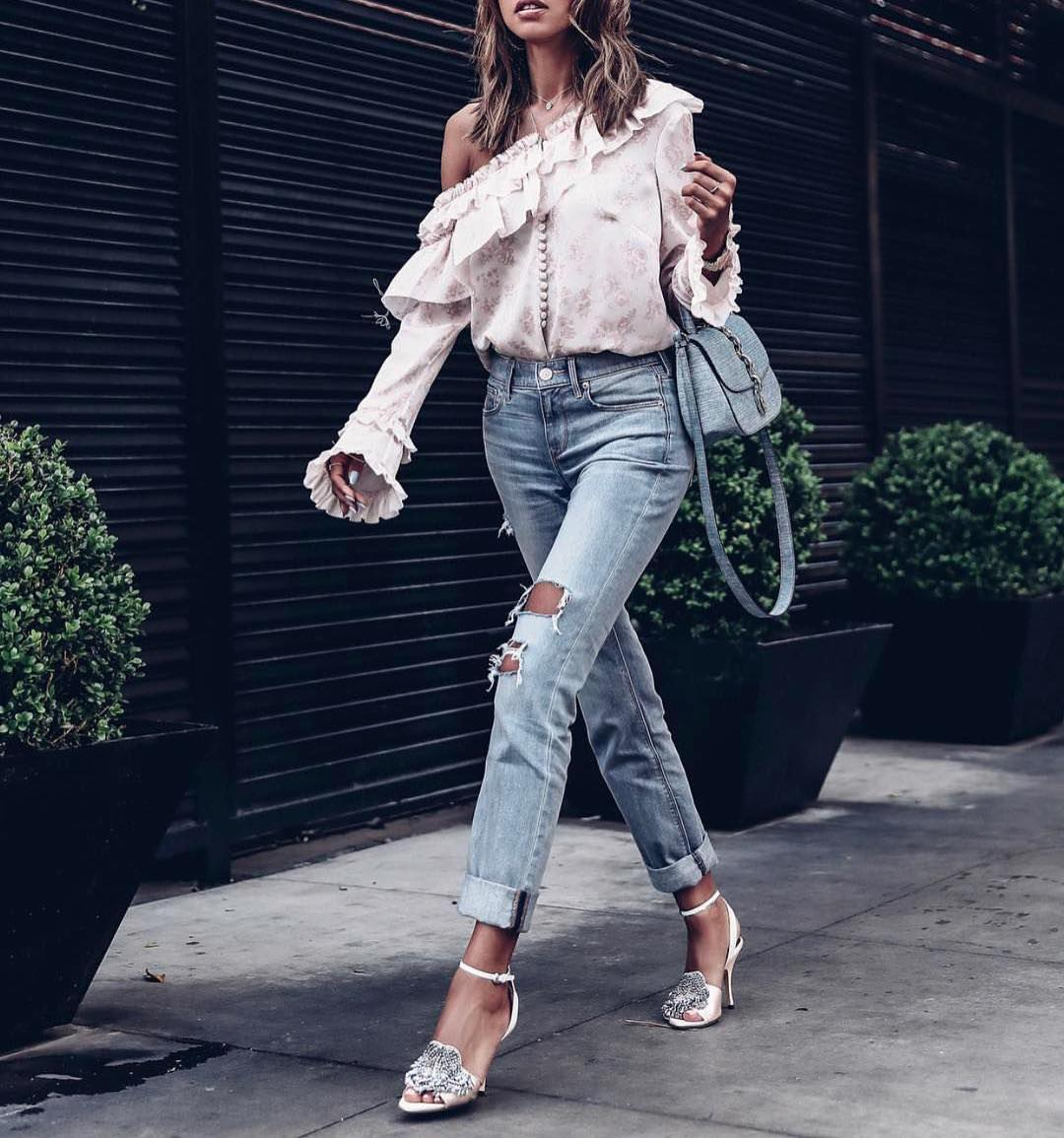 One-Shoulder Ruffled Blouse And Ripped Jeans For Casual Fridays 2021