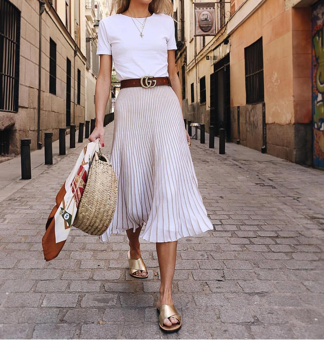 How To Make Knife-Pleated Midi Skirt Look Sweet And Sassy This Summer 2021