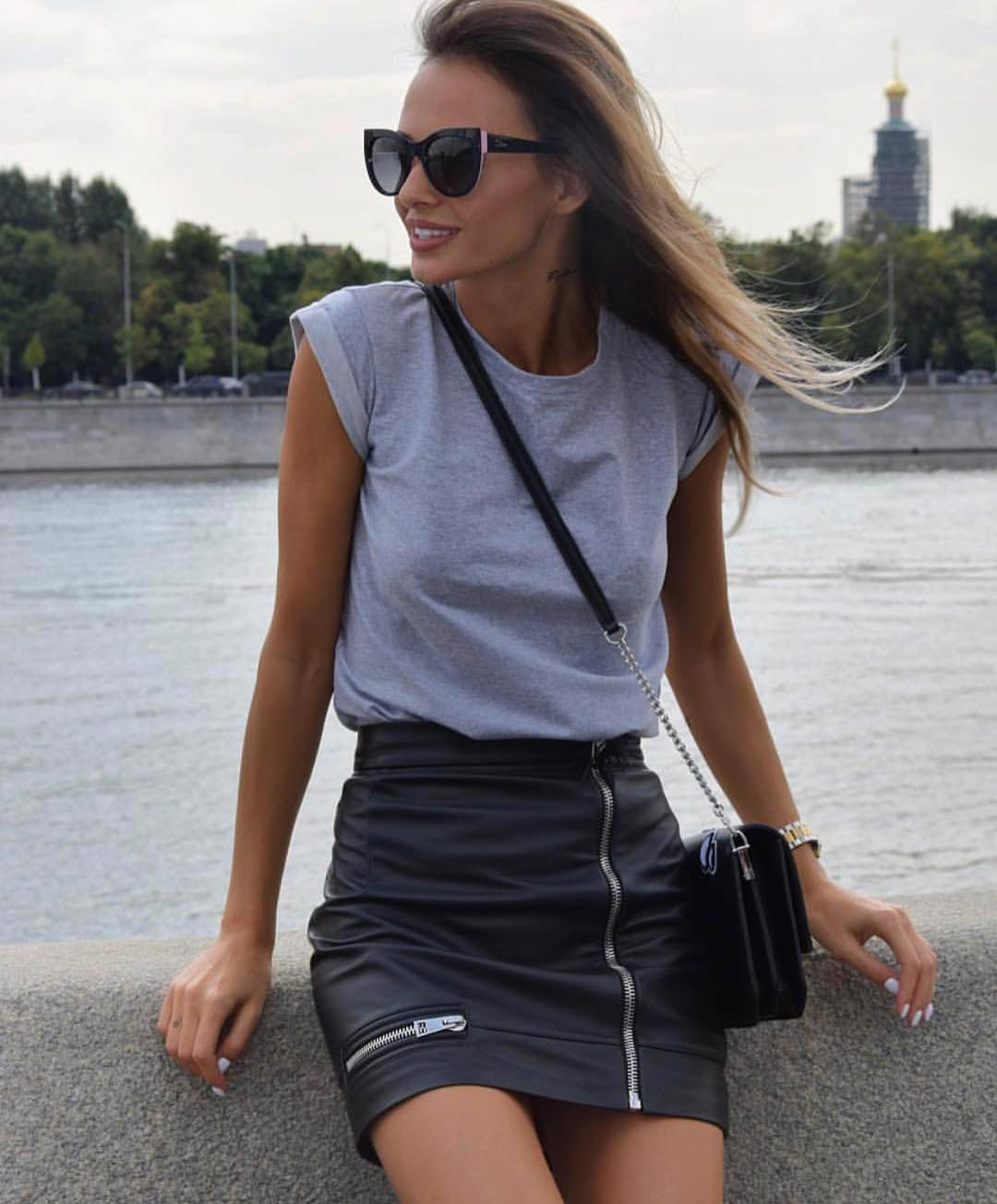 How To Wear Mini Black Leather Skirt With Zipper 2019