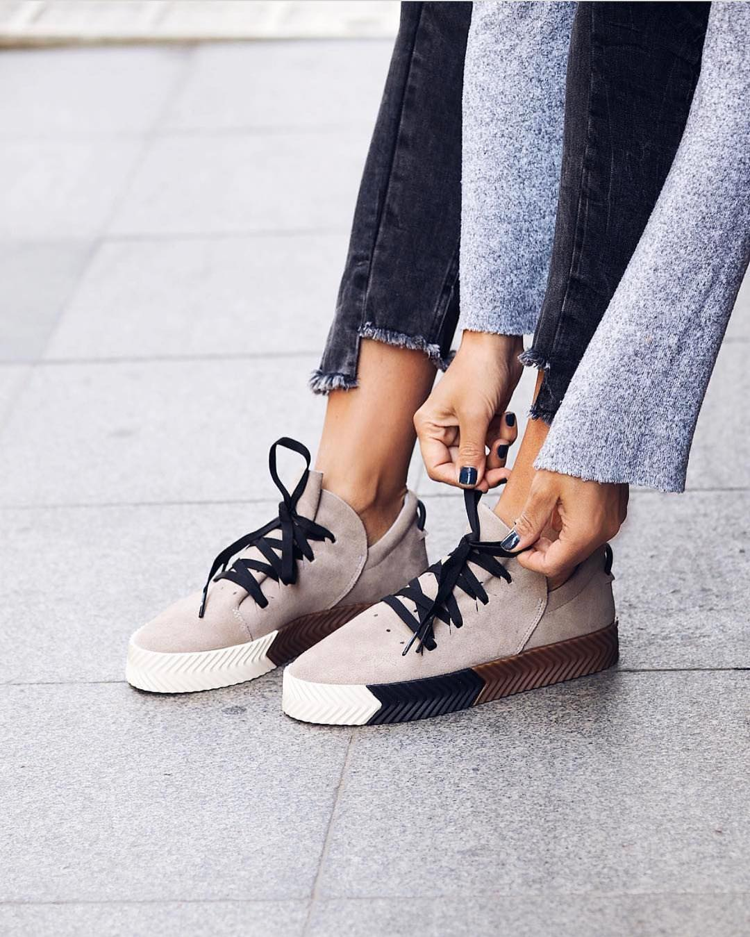 Ash Grey Slip On Sneakers With Black Laces Are For Spring 2021