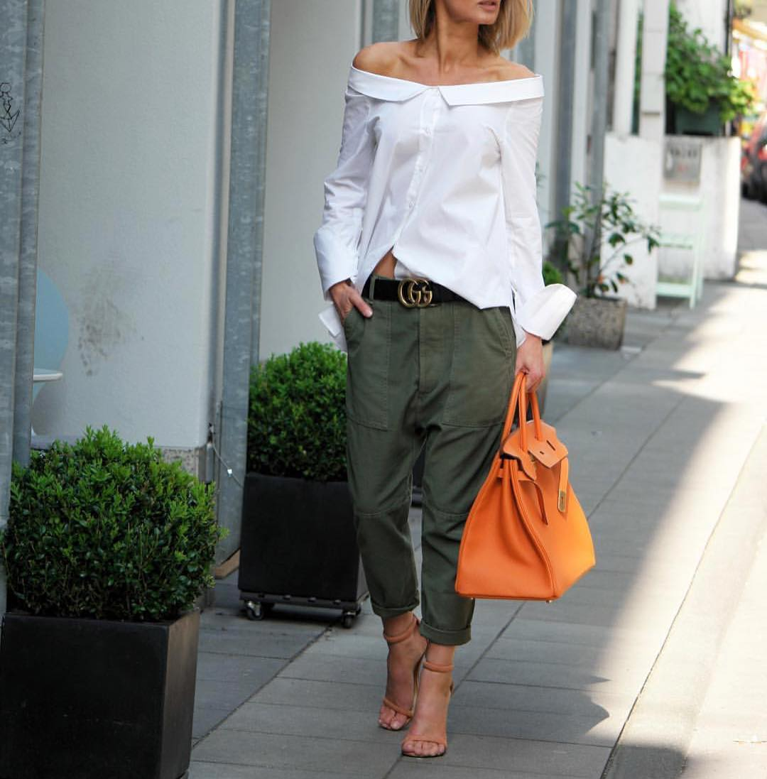 Khaki Green Cargo Pants And Drop Shoulder White Blouse For Fall 2021