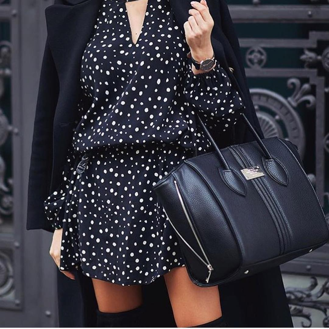 Black V-neck Dress In White Dots And Black Coat For Fall 2021