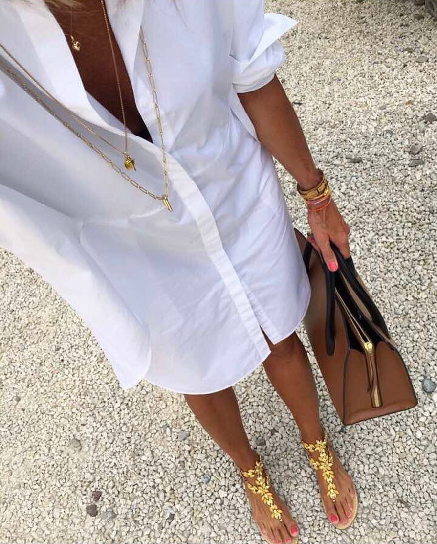 White Shirtdress And Gold Leaf Thong Sandals 2020