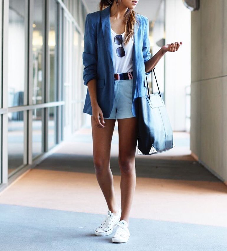 Blue Blazer With White Tank Top And Pastel Shorts For Summer 2019