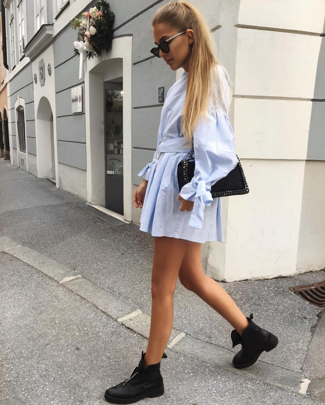 Pastel Blue Tied Shirtdress And Black Leather Flat Ankle Boots For Summer 2020