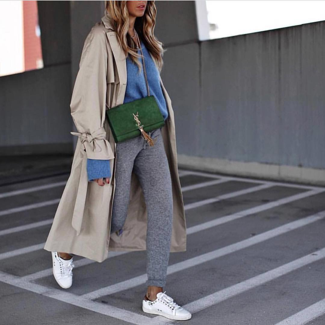 Oversized Coat In Beige With Blue Oversized Sweater And Wool Sweatpants For Fall 2019